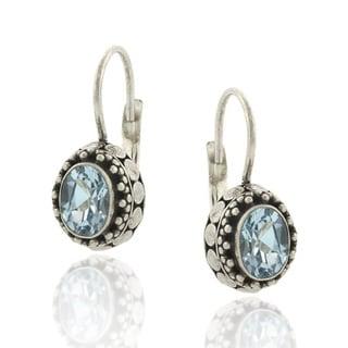 Glitzy Rocks Sterling Silver 2ct TGW Oval Blue Topaz Leverback Earrings