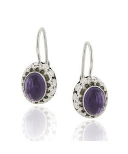 Glitzy Rocks Sterling Silver Oval Amethyst Leverback Earrings