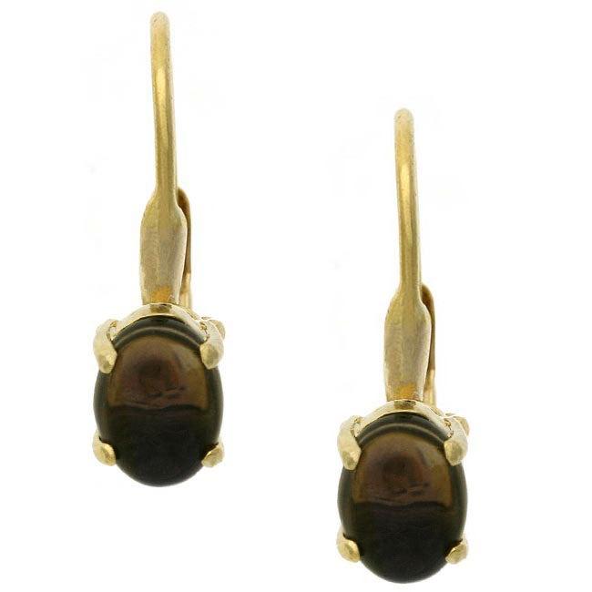 Glitzy Rocks 18k Gold over Silver Smokey Quartz Earrings