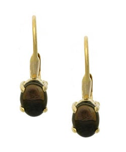 Glitzy Rocks 18k Gold over Silver Smokey Quartz Earrings