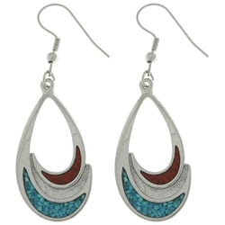 CGC Pewter Turquoise and Coral Teardrop Earrings