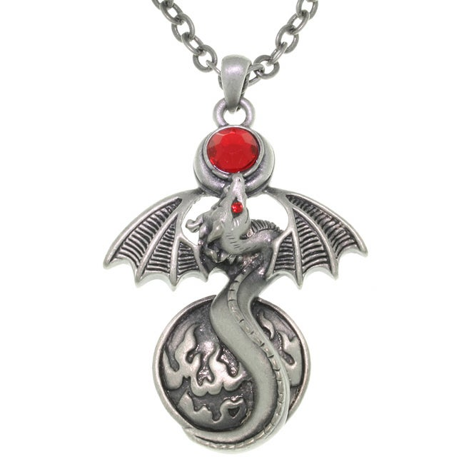 Carolina Glamour Collection Fire Gem Dragon Pewter Unisex Necklace
