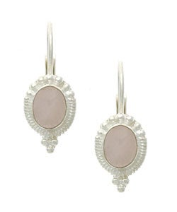 Glitzy Rocks Sterling Silver Rose Quartz Leverback Earrings