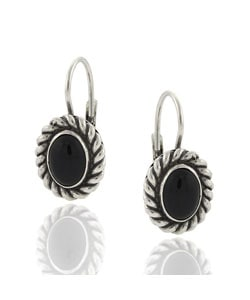 Glitzy Rocks Sterling Silver Black Onyx Leverback Earrings