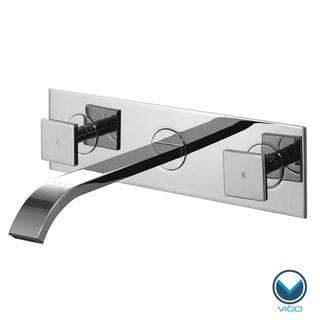 Vigo Square Double Handles Wallmount Faucet