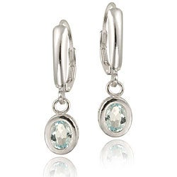 Glitzy Rocks Sterling Silver Blue Topaz Leverback Earrings