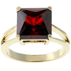 Kate Bissett Goldtone Red CZ Solitaire Ring