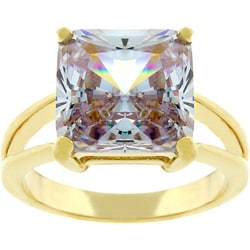 Kate Bissett Goldtone Lavender CZ Solitaire Ring