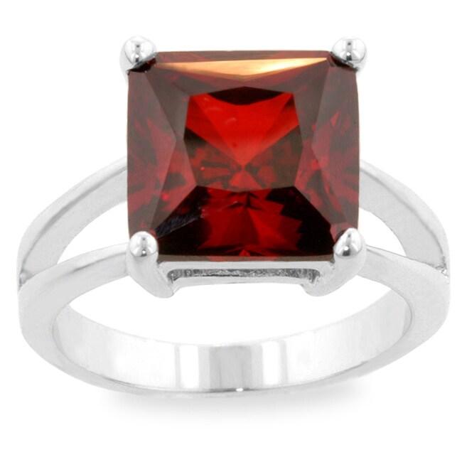 Kate Bissett Silvertone Dark Red Cubic Zirconia Solitaire Ring