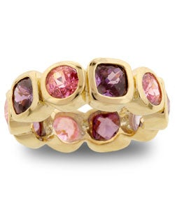Kate Bissett Goldtone Pink and Purple CZ Eternity Band