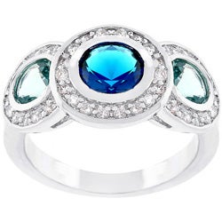 Kate Bissett Silvertone Designer-inspired Blue CZ Cocktail Ring