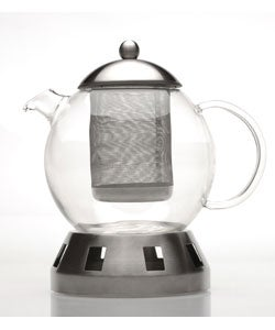 4-piece Glass Teapot w/ Strainer & Warmer