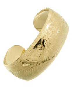 14k Goldfill Floral Cuff Bangle Bracelet (Mexico)
