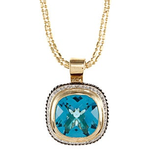 Kate Bissett Two-tone Blue CZ Pendant