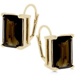Kate Bissett Goldtone Smoky CZ Earrings with Leverback Clasps