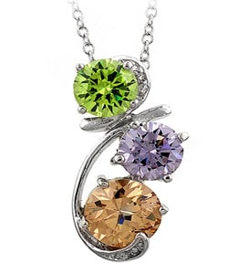 Kate Bissett Silvertone Multi-colored CZ Drop Pendant