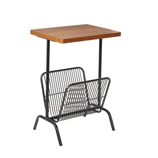 Ashton Brown Wood Accent Table with Metal Magazine Rack