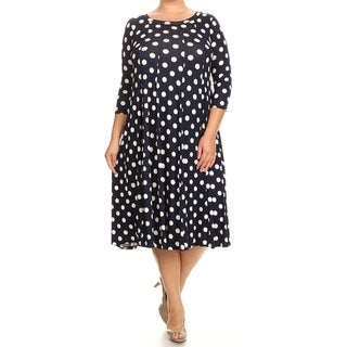 Women's Casual Solid and Print Plus Size A-Line Midi Dress
