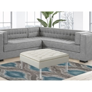Chic Home Remi Square Ottoman Button Tufted PU Leather Upholstered