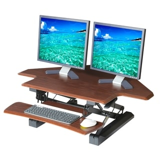 AIRLIFT 43 in Corner Height Adjustable Standing Desk Converter Cubicle Workstation, Dual Monitor Riser w/Keyboard Tray