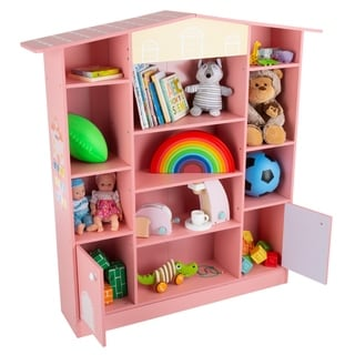 Dollhouse Shaped Bookcase- Cottage Design Furniture for Books or Toys-for Children's Bedroom or Playroom by Hey! Play! (Pink)