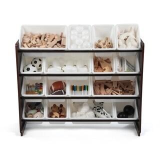 Espresso Super-Sized Toy Organizer w/ 16 Plastic Bins, White & White