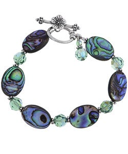 Charming Life Sterling Silver Paua Shell and Crystal Bracelet