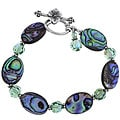 Charming Life Sterling Silver Paua Abalone Shell and Crystal Bracelet