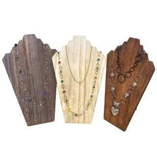 Wooden Jewelry Display Bust Easel 3 Necklaces, Available in 3 colors