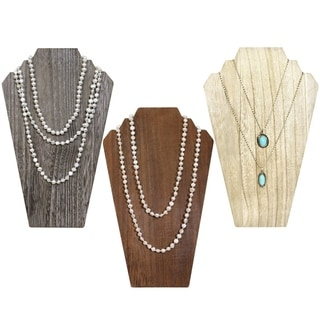 Wooden Jewelry Display Bust with Easel for 2 Necklaces, Available in 3 colors