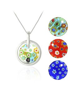 Glitzy Rocks Murano Glass Interchangeable Circle Pendant Set