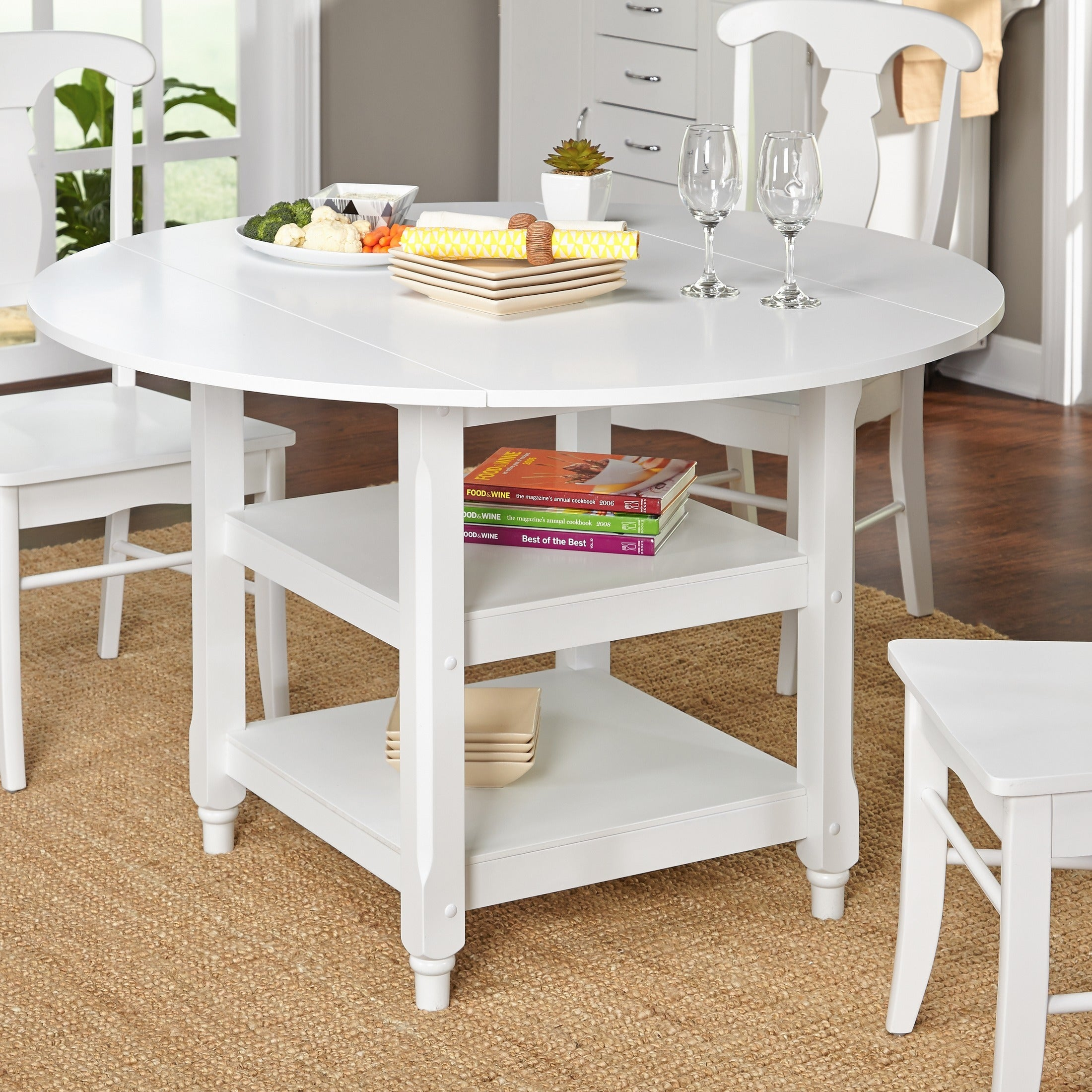 Simple Living Cottage White Round Dining Table Overstock Shopping