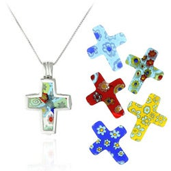 Glitzy Rocks SS Murano Glass Interchangeable Cross Pendant Set