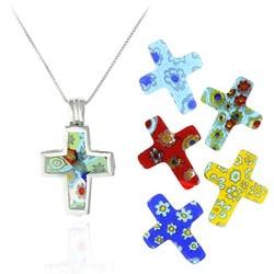 Glitzy Rocks SS Murano Glass Interchangeable Cross Pendant Set