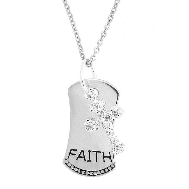 Icz Stonez Sterling Silver CZ Cross and Faith Dog Tag Pendant