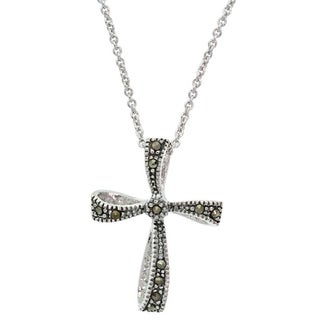 Glitzy Rocks Sterling Silver Genuine Marcasite Cross Pendant