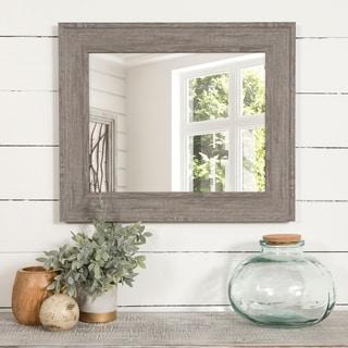 Gallery Solutions Graywash Woodgrain Framed Accent Wall Mirror - Grey