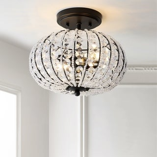 """Catalina 11.7"""" Metal /Acrylic LED Semi-Flush Mount, Oil Rubbed Bronze/Crystal by JONATHAN Y"""
