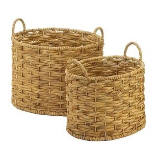 Marine Weaved Straw Storage Baskets - Set of 2