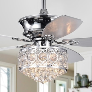Hasna 52-inch Chrome & Crystal Lighted Ceiling Fan Optional Remote Control (Incl 2 Color Option Blades)