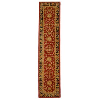 Handmade Oushak Traditional Red Wool Runner (2'3 x 12')