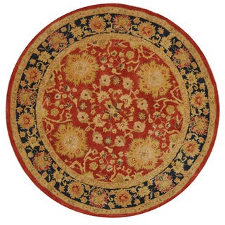 Handmade Oushak Traditional Red Wool Rug (4' Round)