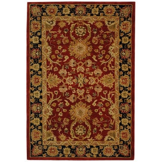 Handmade Oushak Traditional Red Wool Rug (4' x 6')