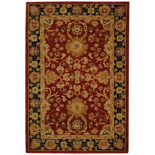 Handmade Oushak Traditional Red Wool Rug (5' x 8')