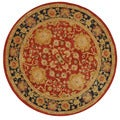Handmade Oushak Traditional Red Wool Rug (6' Round)