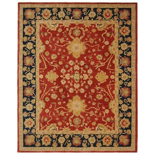 Handmade Oushak Traditional Red Wool Rug (6' x 9')
