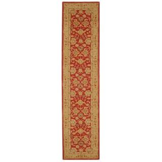 Handmade Mahal Ancestry Red/ Ivory Wool Runner (2'3 x 10')