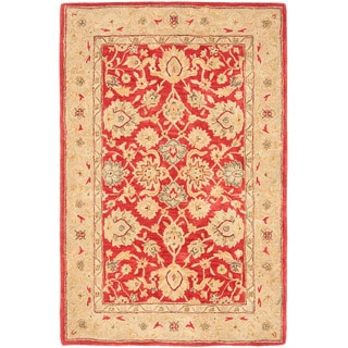 Handmade Traditional Mahal Ancestry Red/ Ivory Wool Rug (4' x 6')