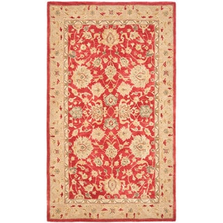 Handmade Traditional Mahal Ancestry Red/ Ivory Wool Rug (5' x 8')