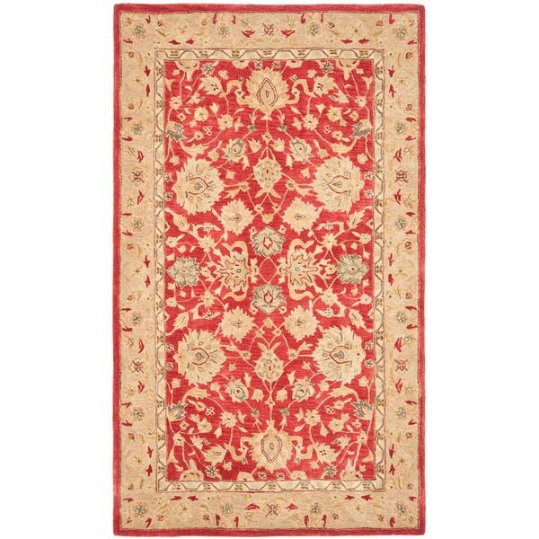 Safavieh Handmade Traditional Mahal Ancestry Red/ Ivory Wool Rug (5' x 8')